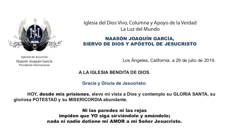 Carta de Naasón Joaquín 1 de agosto de 2019